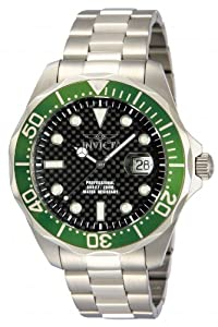 Invicta Pro Diver Men's Quartz Watch with Black Dial  Analogue display on Silver Stainless Steel Bracelet 12564