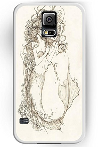 Sprawl Beautiful Vintage Design Hard Shell For Samsung Galaxy S5 Hard Plastic Back Case For Women -- Beauty Mermaid And Little Fishes