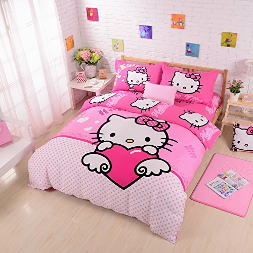 Lt Queen King Size 100% Cotton Girls Princess Character Cartoon Kids Gift Bedding 4-Pieces Hello Kitty Pink And White Polka Dot Love Heart Style Prints Duvet Cover Set/Bed Linens/Bed Sheet Sets/Bedclothes/Bedding Sets/Bed Sets/Bed Covers/Bedroom Sets/5-Pi front-1019049