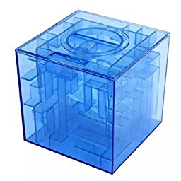 Safeinu Transparent Crystal Money Maze Coin Bank 3D Puzzle Box Gift Holder Prize Storage Blue