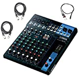 Yamaha MG10 10 Input Stereo Audio Mixer with 10 channel Analog Mixer with 4 Microphone Preamps , 3 Dedicated Stereo Line Channels , 1 Aux Send , EQ, and 1 knob Compressors Audio Mixer Bundle /w Cables, Black (Color: Black)