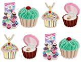 Cupcake Crystal & Enamel Pendant Necklace in Figural Gift Box