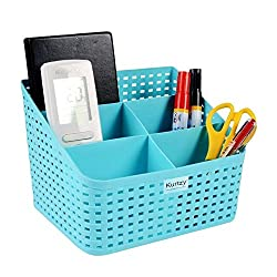 Premium Quality Tapered hollow basket woven Storage box / organizer / bin / Basket for Kitchen, Utility, Living room, kids room, Bedroom or Bathroom or office storagebasket (Color May Vary) (17 X 16 X 14 CM)