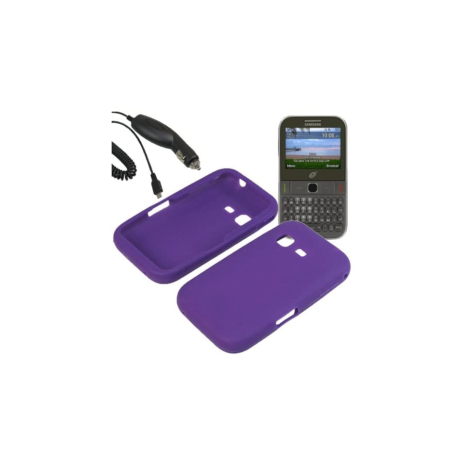 BW Silicone Sleeve Gel Cover Skin Case for Tracfone, Net 10, Straight Talk Samsung S390G+ Car Charger Purple Cell Phones & Accessories