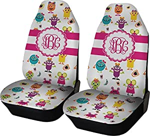 girly monsters custom car seat covers set of two automotive. Black Bedroom Furniture Sets. Home Design Ideas