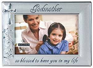 Malden International Designs Godmother with Cross Picture Frame, 4 by 6-Inch, Silver