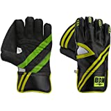 BDM Jaguar Wicket Keeping Gloves, Men's (Black/Light Green)