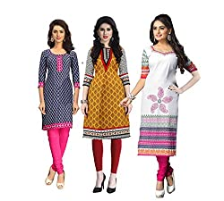 Vaamsi Women's PolyCotton Unstitched 3 Kurti Fabric(CKF1017_Multi-Coloured_Free Size)