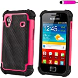32nd® Shock proof defender heavy duty tough case cover for Samsung Galaxy Ace S5830 + screen protector, cleaning cloth and touch stylus - Hot Pink