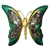 Green Handcrafted Wrought Iron Butterfly Wall Decoration 9 X 10 Inches