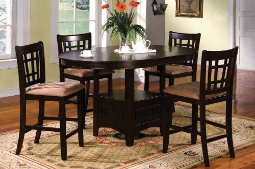 Inland Empire Furniture Metropolis Espresso Solid Wood & Microfiber 5 Piece Oval Counter Height Dining Set