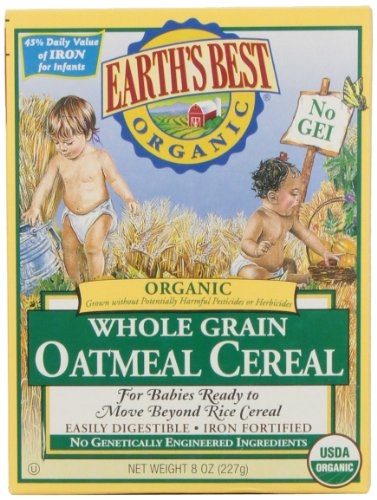 Earth's Best Certified Organic Whole Grain Oatmeal Cereal -- 8 oz - 1