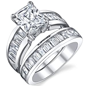 Sterling Silver 3 Carat Radiant Cut Cubic Engagement Ring Wedding Bridal Set Rings With CZ Size 9