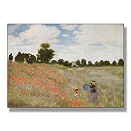 Claude Monet Coquelicots La Promenade (Poppies) 1873 Original Landscapes Oil Painting Reproduction on Gallery Wrapped Canvas 30X22 inch