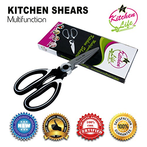 Multifunctional Kitchen Shears By Kitchen Life | Multi-Purpose Kitchen Scissors For Meat, Chicken, Poultry, Vegetables, Herbs & More | Best Utility Scissors w/ Comfortable Handles (Grand Gourmet Pasta compare prices)