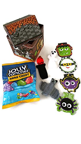 Halloween-Haunted-House-Bundle-Hiding-3-Scary-Knit-Finger-Puppets-1-Bag-38-ounces-of-Hard-Candy-and-4-Spooky-Little-Secret-Notebooks