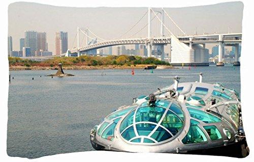 Microfiber Peach Queen Size Decorative Pillowcase -City Boat Bridge Water Home front-930988