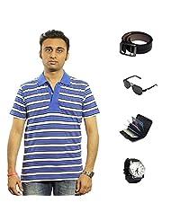Garushi Blue T-Shirt With Watch Belt Sunglasses Cardholder - B00YMLJ860