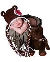 Melondipity Girls Dark Brown Crochet Bear Beanie Baby Hat with Pink, White Flower