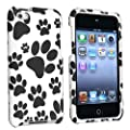 eForCity� Snap-on Rubber Coated Case compatible with Apple� iPod� touch 4th Generation, Black / White Paw