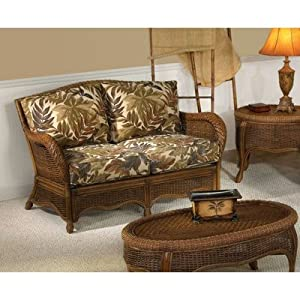 Turks Bay Rattan Loveseat with Cushions Fabric: Alamosa Terrace Spice