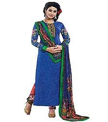 Lakshmi Fashion Creation Women's Cotton Dress Material ( Lilots Blue )