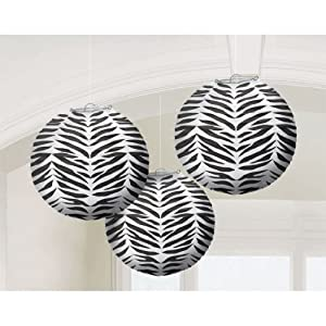 Zebra Print Round Paper Lanterns Party Accessory