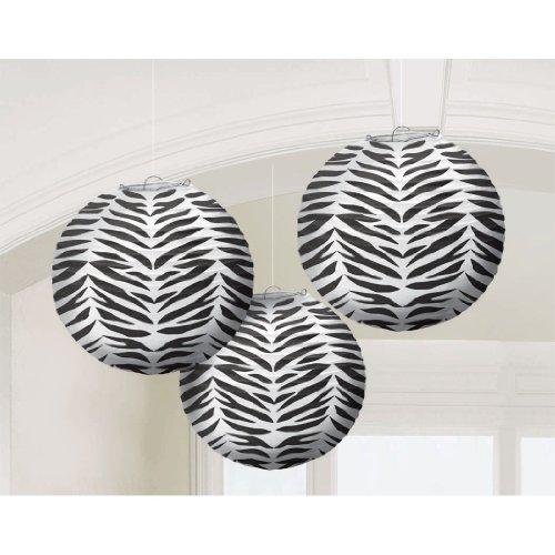 Amscan Wild Zebra Round Paper Lanterns, 9 1/2