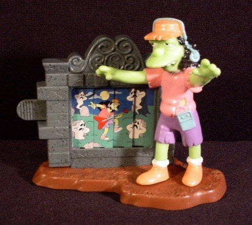 """Zombie Otto"" 4"" Tall PVC Figure - 2002 Burger King The Simpsons Creepy Classics Series - 1"