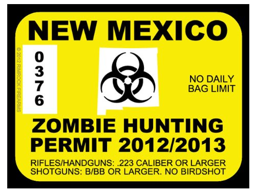 New Mexico Zombie Hunting Permit 2012 (Bumper Sticker)