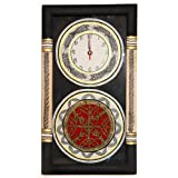 Unravel India Warli Painted & Dhokra Craft Fusion Wall Clock (Black & Red)