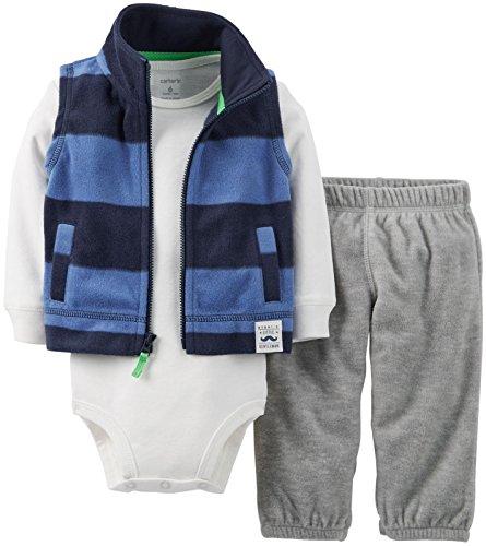 Carter'S Baby Boys' Micro Fleece Vest Set (Baby) - Navy Stripe - 3 Months
