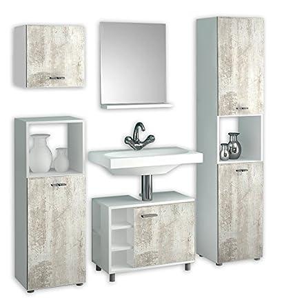 "VCM 5-Piece ""Lodala"" Complete Bathroom Furniture Set, White/Pine"