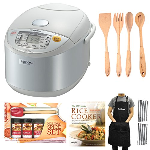 Zojirushi Ns-Yac18 Umami Micom 10-Cup (Uncooked) Rice Cooker And Warmer (Pearl White) Bundle front-618537