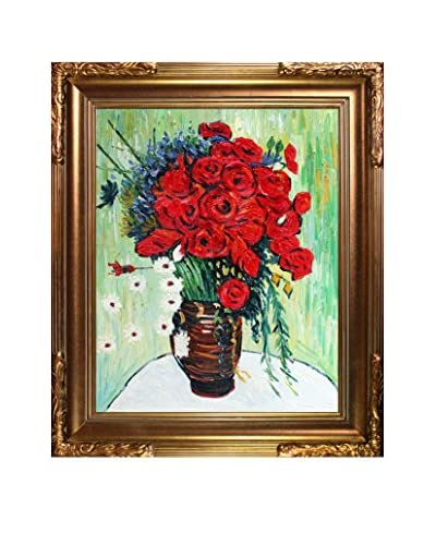 Vincent Van Gogh Vase With Daisies And Poppies Framed Hand-Painted Reproduction