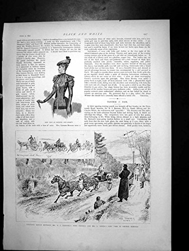 old-original-antique-victorian-print-new-vest-dickins-jones-trotting-match-pony-tandem-c-white-1892-