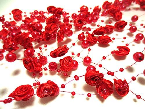 Rouge Roses-guirlande de perles 10 metres