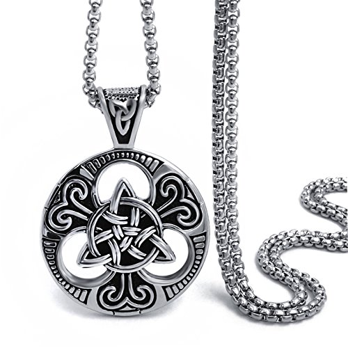 Elfasio Large Celtic knot Magic Both Sided Pendant Necklace Men's Stainless Steel Box Chain Jewelry(20inch) (Stainless Steel Pendants For Men compare prices)