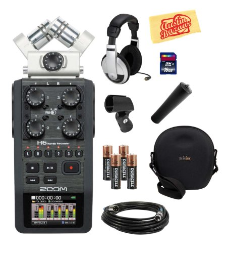 Zoom H6 Portable Handy Recorder Bundle With Hard Case, Headphones, 16Gb Sd Card, Mic Cable, Mic Stand Adapter, Mic Clip, Aa Batteries, And Polishing Cloth
