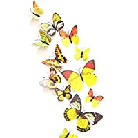12PCS 3D Yellow Butterfly Stickers Card Making Stickers Wall Stickers 3D Crafts Butterflies by auto