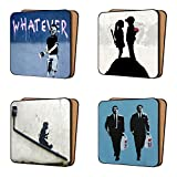 BANKSY Coasters Pack of 4 Mix 1 - NEW large Size Art Coasters Furniture, Dinnerware Sets 11cm x 11cm