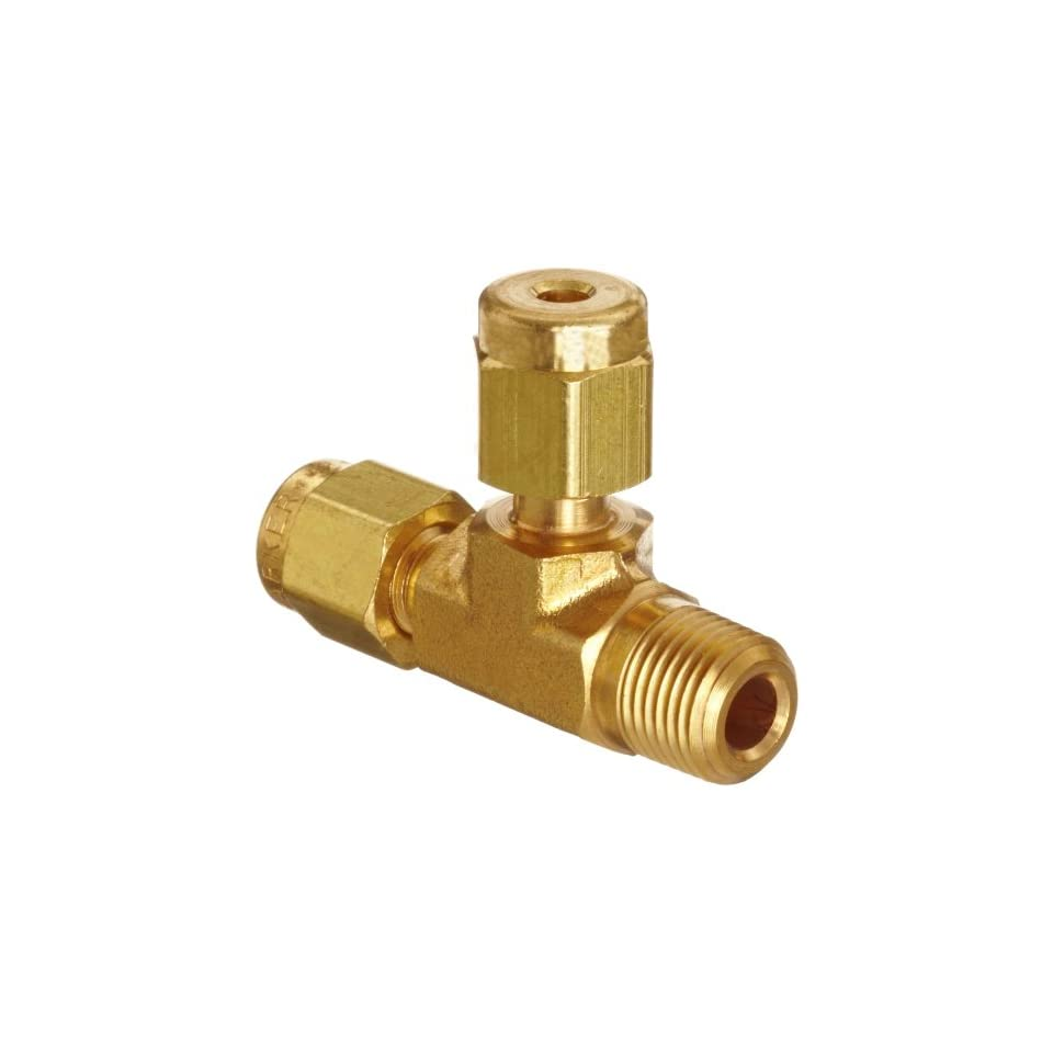 Parker A Lok 2MRT2N B Brass Compression Tube Fitting, Run Tee, 1/8 Tube OD x 1/8 Tube OD x 1/8 NPT Male