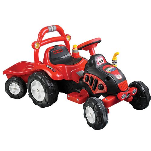 Lil' Rider Battery-Powered Farm-N-Fun Tractor And Trailer, Red front-586987