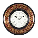Home And Bazaar Traditional Rajasthani Wall Clock With Brass Finish And Meens Work