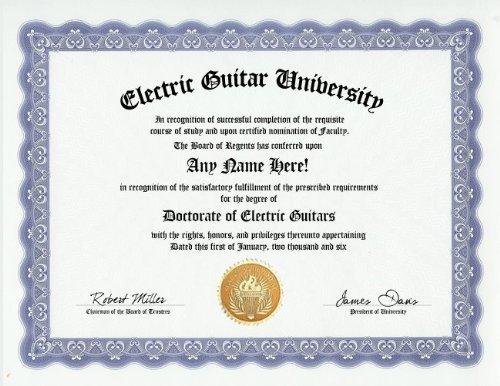 Electric Guitar Degree: Custom Gag Diploma Doctorate Certificate (Funny Customized Joke Gift - Novelty Item)