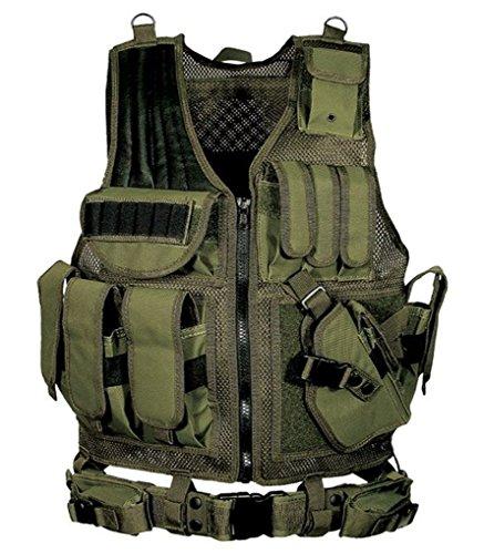 (上海物語)Shanghai Story アウトドア 装備品セット フリーサイズ調整可 特殊部隊・ミリタリー仕様の本格 タクティカルベスト・スナイパージャケット フリーサイズ Army Green
