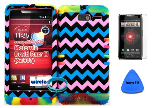 Hybrid Cover Bumper Case For Motorola Droid Razr M (Xt907, 4G Lte, Verizon) Protector Baby Pink, Blue, Black Chevron Pattern Snap On + Rainbow Silicone (Included Wristband, Screen Protector And Pry Tool By Wirelessfones) front-1001088