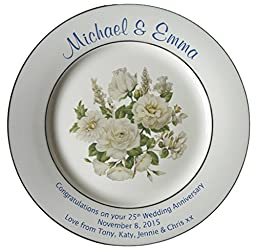 Personalized Bone China Commemorative Plate For A 25th Wedding Anniversary - White Rose Design With 2 Silver Bands