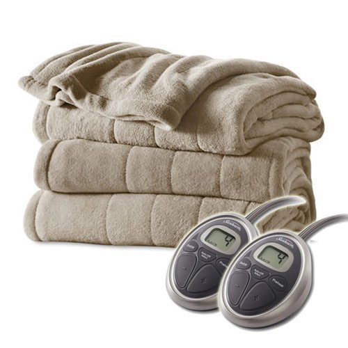 Sunbeam Channeled Velvet Plush Electric Heated Blanket Queen Sand Tan (Sunbeam Heated Electric Blanket compare prices)