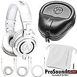 Audio-Technica ATH-M50xWH (White) Professional Studio Monitor Headphones (New 2015 Model) + Free Cables, Bag and Slappa Case (SL-HP-07) - (ProSoundGear) Authorized Dealer